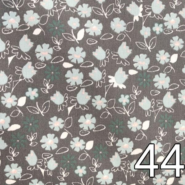 44 - Baumwollserie Blumen, grau