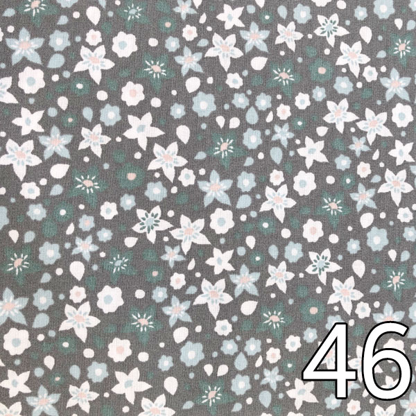 46 - Baumwollserie Blumen, grau