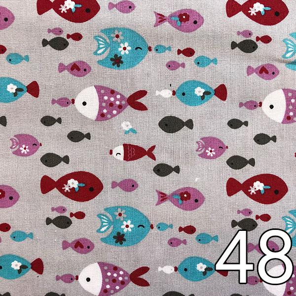 48 - Baumwolle Fische, grau