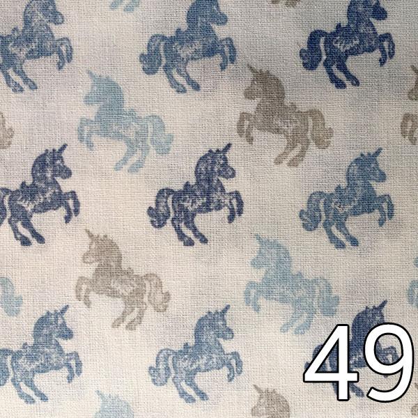 49 - Baumwolle Einhörner, blau/weiß