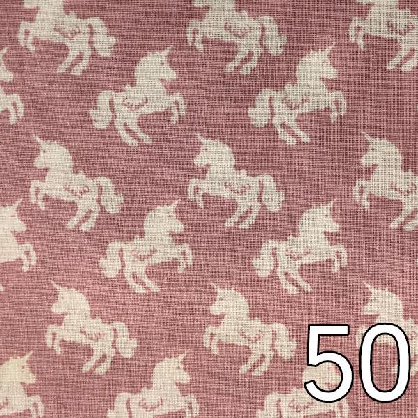 50 - Baumwolle Einhörner, altrosa/weiß