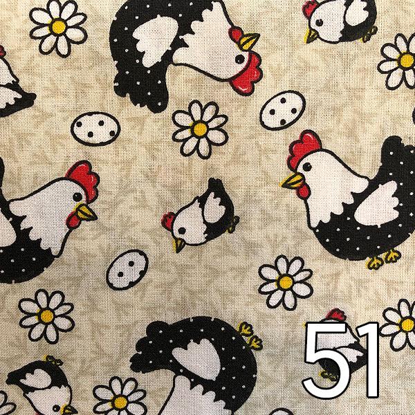 51 - Baumwolle Hühner, creme