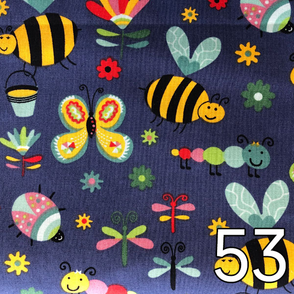 53 - Baumwolle Bienen, Schmetterlinge, Raupe..., blau