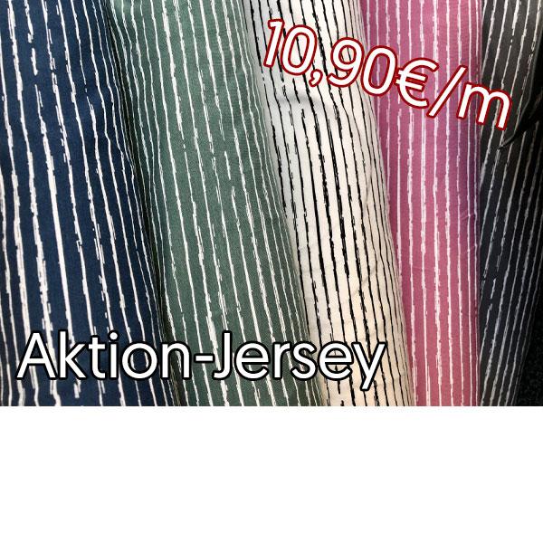 Aktion Jersey Blau, Grün, Creme, Pink, Grau